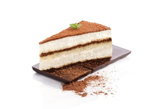 Tiramisu on a piece of chocolate